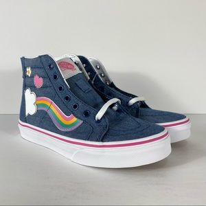 Vans Sk8-Hi Zip Rainbow Sidestripe Denim Sneakers